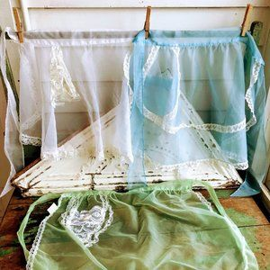 Vintage Apron lot 3 nylon Hostess aprons